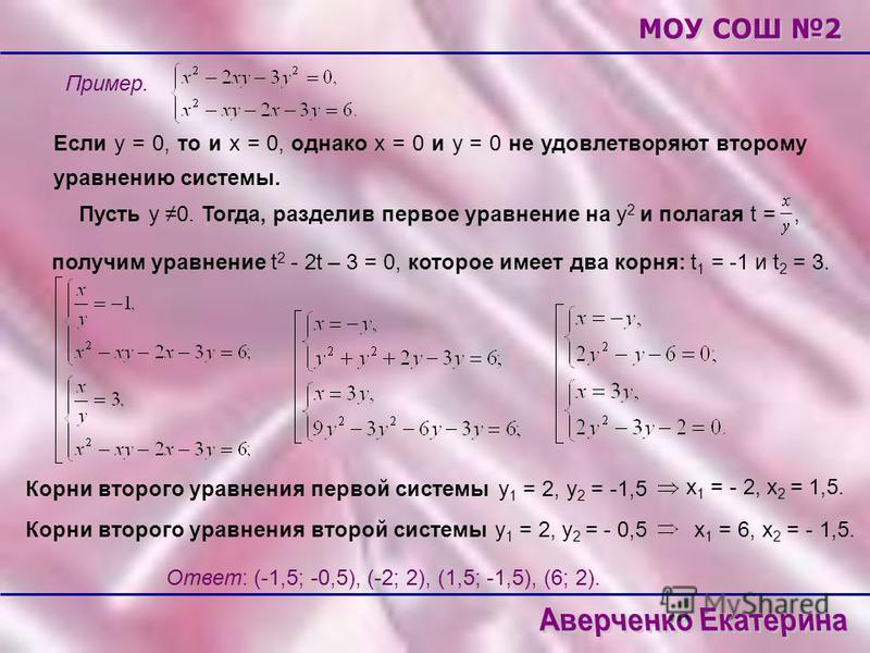 Пример. Если у = 0, то и х = 0, однако х = 0 и у = 0 не удовлетворяют второму уравнению системы. Пусть у 0. Тогда, разделив первое уравнение на у 2 и полагая t =, получим уравнениеt 2 - 2t – 3 = 0, которое имеет два корня: t 1 = -1 и t 2 = 3. у 1 = 2