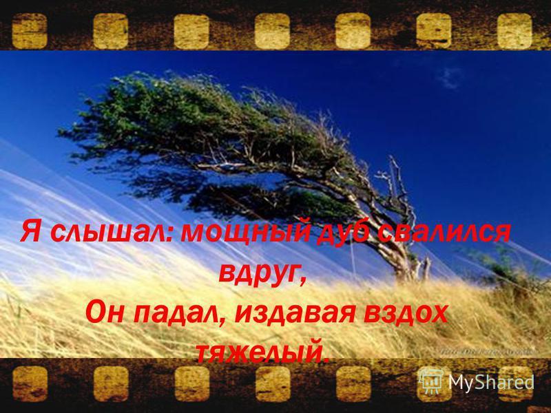 Я слышал: мощный дуб свалился вдруг, Он падал, издавая вздох тяжелый.