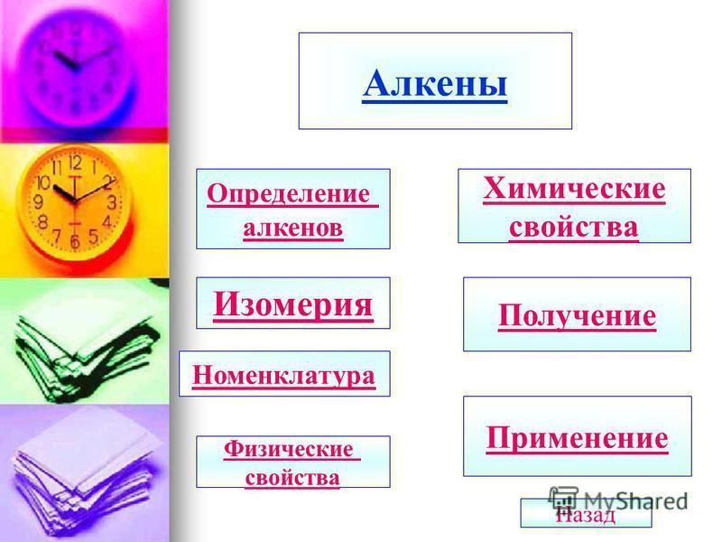 Алкены Определение алкенов Изомерия Номенклатура Химические свойства Получение Применение Физические свойства Назад