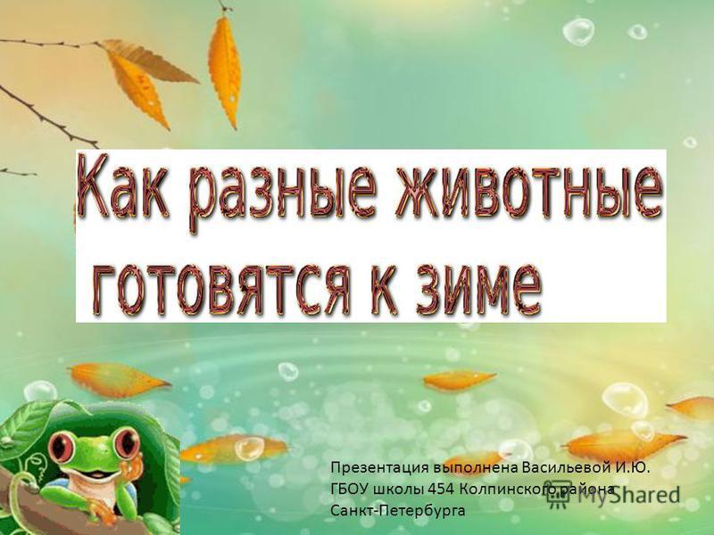 Презентация выполнена Васильевой И.Ю. ГБОУ школы 454 Колпинского района Санкт-Петербурга