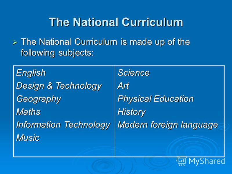 The National Curriculum The National Curriculum is made up of the following subjects: The National Curriculum is made up of the following subjects: English Design & Technology GeographyMaths Information Technology MusicScienceArt Physical Education H