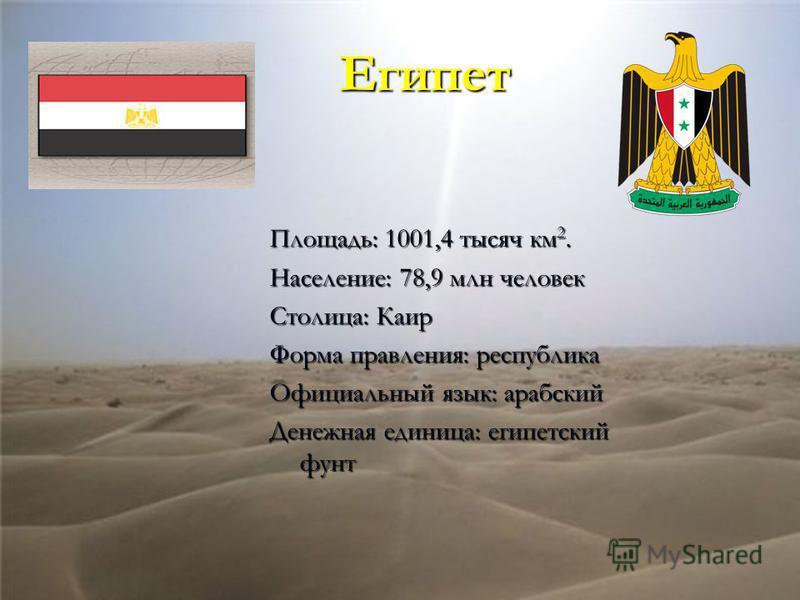 Египет Площадь: 1001,4 тысяч км 2. Население: 78,9 млн человек Столица: Каир Форма правления: республика Официальный язык: арабский Денежная единица: египетский фунт