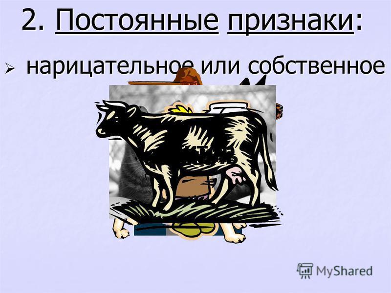 2. Постоянные признаки: нарицательное или собственное нарицательное или собственное доктор учитель собака мальчик кошка корова