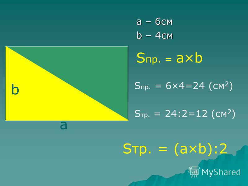а – 6 см b – 4 см S пр. = а×b S тр. = 24:2=12 (см 2 ) S пр. = 6×4=24 (см 2 ) Sтр. = (а×b):2 а b