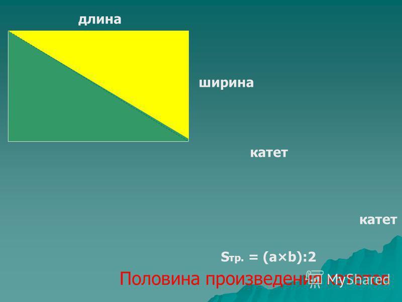 длина ширина катет S тр. = (а×b):2 Половина произведения катетов