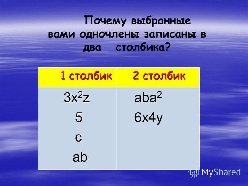 Задание 1. 3x 2 z; ab; 5; aba 2 ;c; 5x 2 +y; 6x4y. Назовите одночлены: