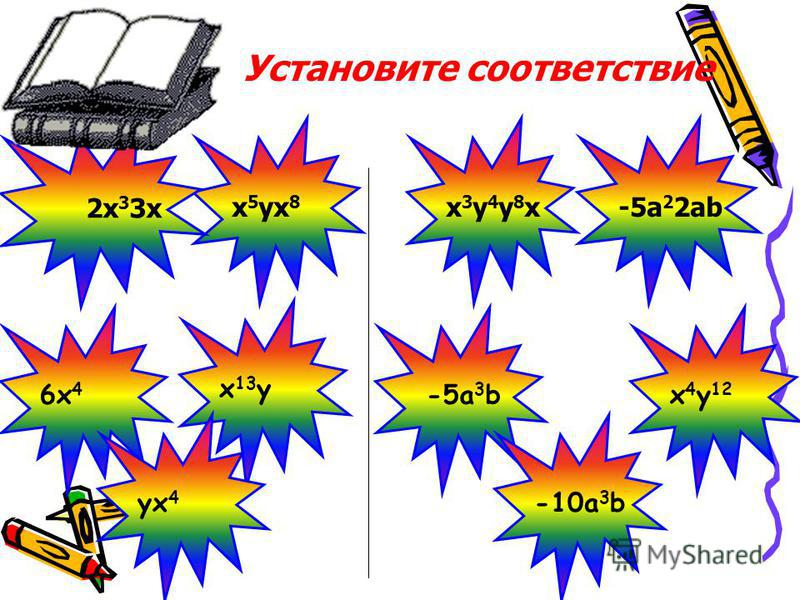1 столбик 1 столбик 2 столбик 2 столбик 3x 2 z 3x 2 z 5 c ab aba 2 6x4y Почему выбранные вами одночлены записаны в два столбика?