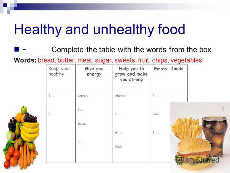 Healthy and unhealthy food - Complete the table with the words from the box Words: bread, butter, meat, sugar, sweets, fruit, chips, vegetables Keep your healthy Give you energy Help you to grow and make you strong Empty foods 1…. 2…. cereals 3…. pas