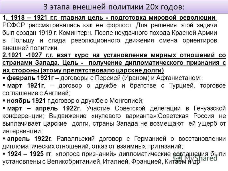 3 этапа внешней политики 20 х годов: 1. 1918 – 1921 г.г. главная цель - подготовка мировой революции, РСФСР рассматривалась как ее форпост. Для решения этой задачи был создан 1919 г. Коминтерн. После неудачного похода Красной Армии в Польшу и спада р