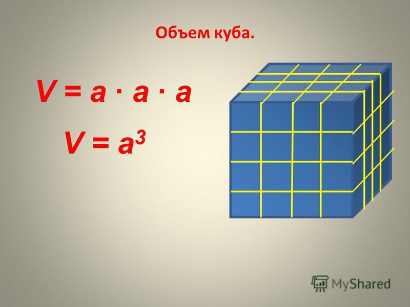Объем куба. V = a а а V = а 3