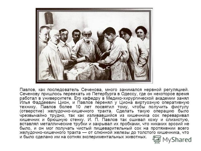 Павлов, как последователь Сеченова, много занимался нервной регуляцией. Сеченову пришлось переехать из Петербурга в Одессу, где он некоторое время работал в университете. Его кафедру в Медико-хирургической академии занял Илья Фаддеевич Цион, и Павлов