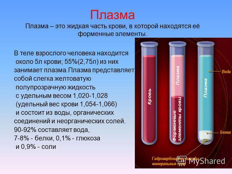 Плазма Плазма – это жидкая часть крови, в которой находятся её форменные элементы. В теле взрослого человека находится около 5 л крови; 55%(2,75 л) из них занимает плазма.Плазма представляет собой слегка желтоватую полупрозрачную жидкость с удельным