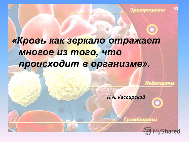 «Кровь как зеркало отражает многое из того, что происходит в организме». Н.А. Кассирский