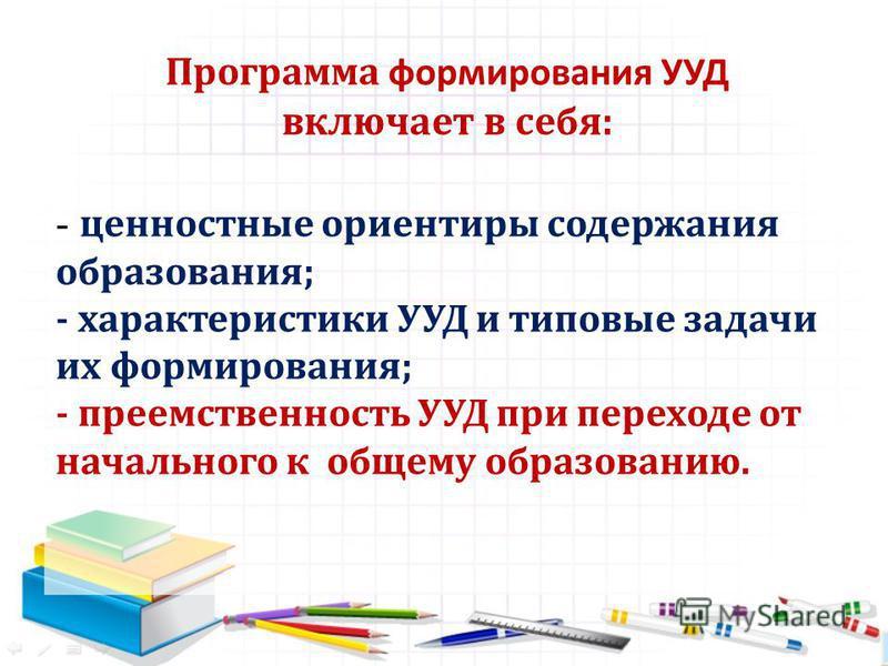 - ценностные ориентиры содержания образования; - характеристики УУД и типовые задачи их формирования; - преемственность УУД при переходе от начального к общему образованию. Программа формирования УУД включает в себя: