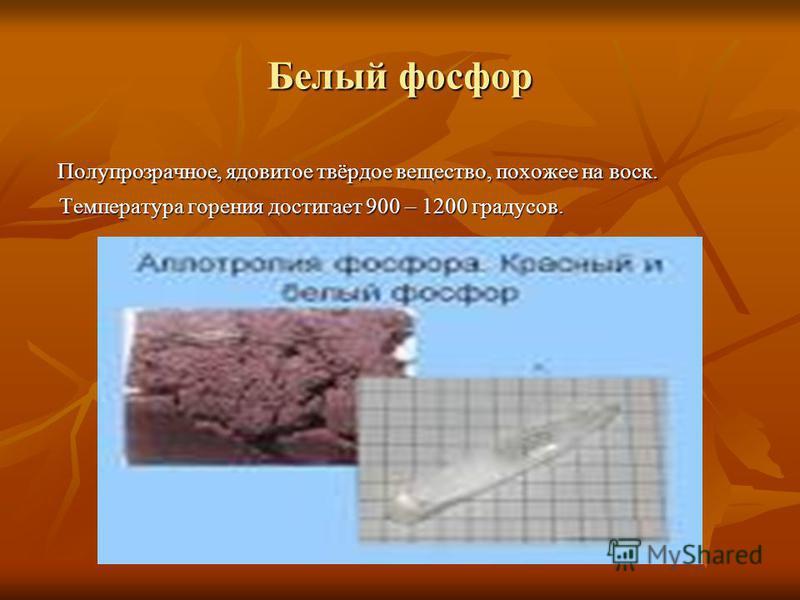 Белый фосфор Полупрозрачное, ядовитое твёрдое вещество, похожее на воск. Полупрозрачное, ядовитое твёрдое вещество, похожее на воск. Температура горения достигает 900 – 1200 градусов. Температура горения достигает 900 – 1200 градусов.