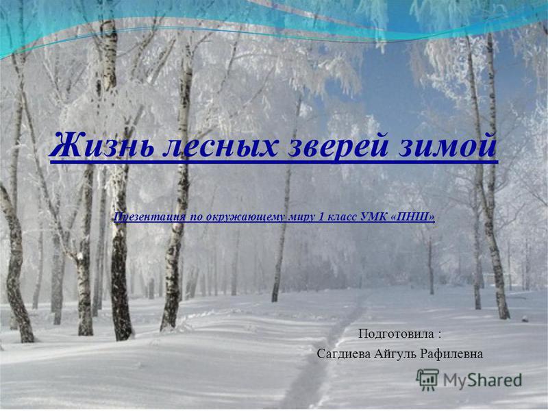 Жизнь лесных зверей зимой Презентация по окружающему миру 1 класс УМК «ПНШ» Подготовила : Сагдиева Айгуль Рафилевна