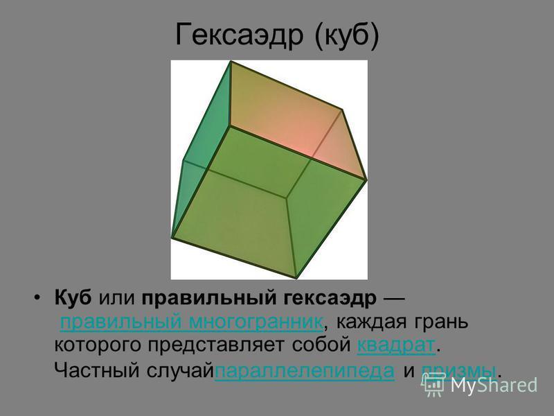 Гексаэдр (куб) Куб или правильный гексаэдр правильный многогранник, каждая грань которого представляет собой квадрат. Частный случай параллелепипеда и призмы.правильный многогранник квадрат параллелепипеда призмы