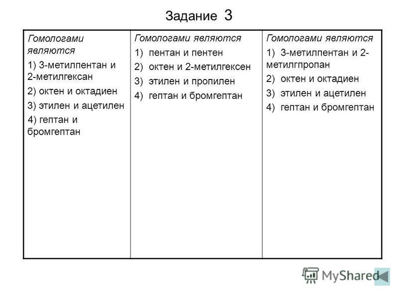 Задание 3 Гомологами являются 1) 3-метилпентан и 2-метилгексан 2) октен и октадиен 3) этилен и ацетилен 4) гептан и бромгептан Гомологами являются 1) пентан и пентен 2) октен и 2-метилгексен 3) этилен и пропилен 4) гептан и бромгептан Гомологами явля
