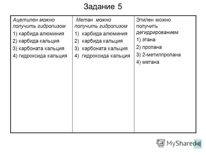 Задание 5 Ацетилен можно получить гидролизом 1) карбида алюминия 2) карбида кальция 3) карбоната кальция 4) гидроксида кальция Метан можно получить гидролизом 1) карбида алюминия 2) карбида кальция 3) карбоната кальция 4) гидроксида кальция Этилен мо