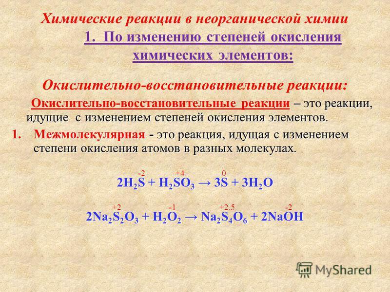Химические реакции в неорганической химии 1. По изменению степеней окисления химических элементов: Окислительно-восстановительные реакции: – реакции, идущие с изменением степеней окисления элементов. Окислительно-восстановительные реакции – это реакц