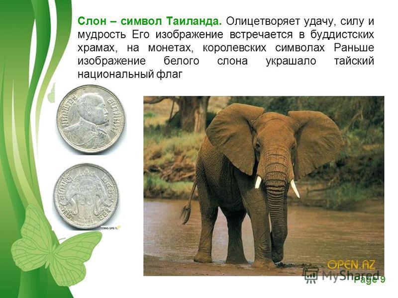 Free Powerpoint TemplatesPage 9 Слон – символ Таиланда. Олицетворяет удачу, силу и мудрость Его изображение встречается в буддистских храмах, на монетах, королевских символах Раньше изображение белого слона украшало тайский национальный флаг