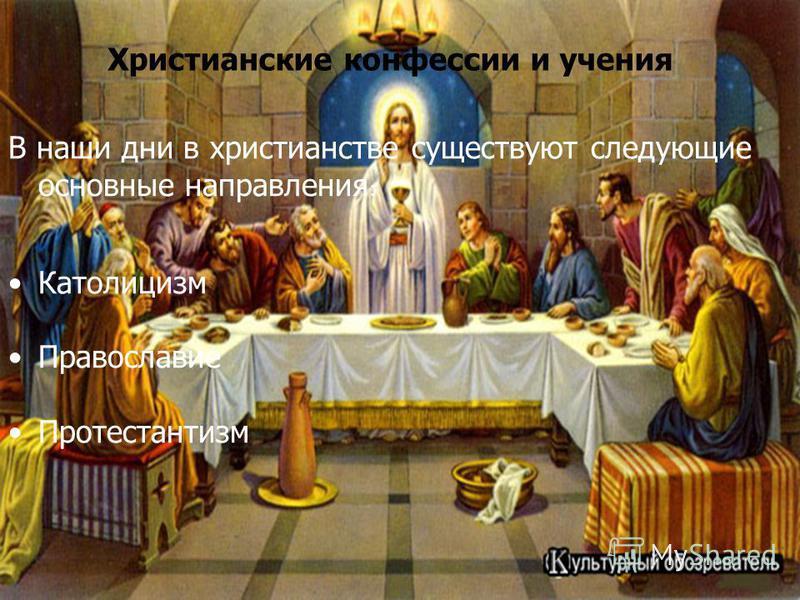 Христианские конфессии и учения В наши дни в христианстве существуют следующие основные направления : Католицизм Православие Протестантизм