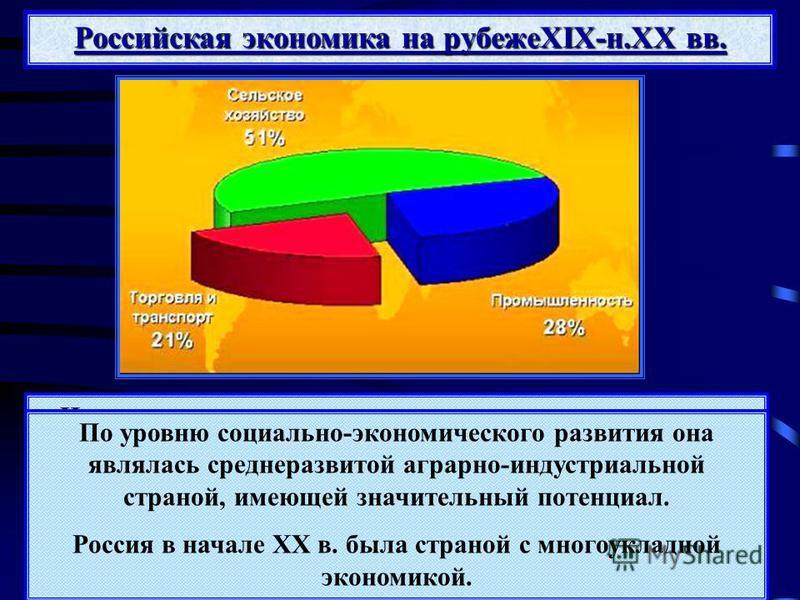 Российская экономика на рубежеXIX-н.XX вв. Несмотря на высокие темпы развития промышленного производства, Россия значительно отставала от мировых держав по качественным показателям экономики: производству промышленной продукции на душу населения, про