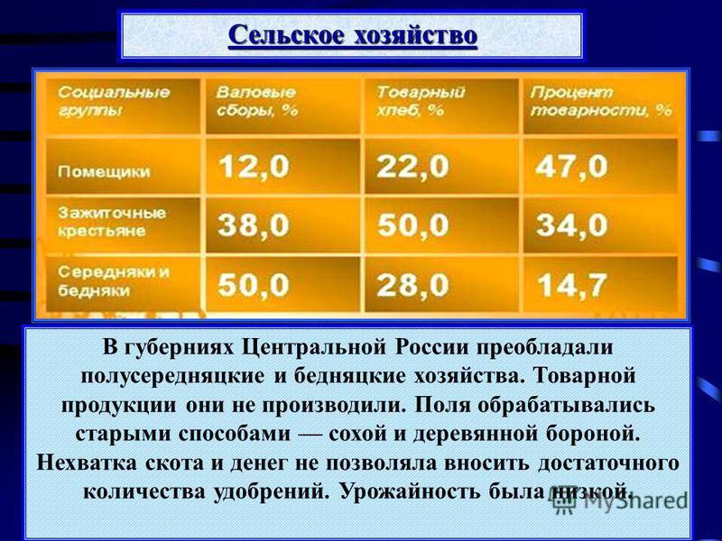 В губерниях Центральной России преобладали полусередняцкие и бедняцкие хозяйства. Товарной продукции они не производили. Поля обрабатывались старыми способами сохой и деревянной бороной. Нехватка скота и денег не позволяла вносить достаточного количе