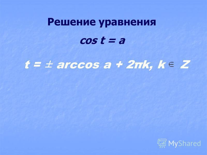 Решение уравнения cos t = a t = ± arccos a + 2πk, k Z