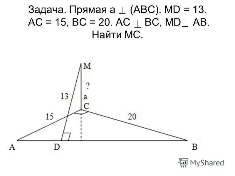 Задача. Прямая а (АВС). MD = 13. АС = 15, ВС = 20. АС ВС, МD АВ. Найти MC.