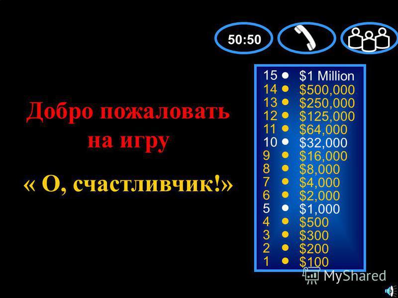15 14 13 12 11 10 9 8 7 6 5 4 3 2 1 $1 Million $500,000 $250,000 $125,000 $64,000 $32,000 $16,000 $8,000 $4,000 $2,000 $1,000 $500 $300 $200 $100 Добро пожаловать на игру « О, счастливчик!» 50:50