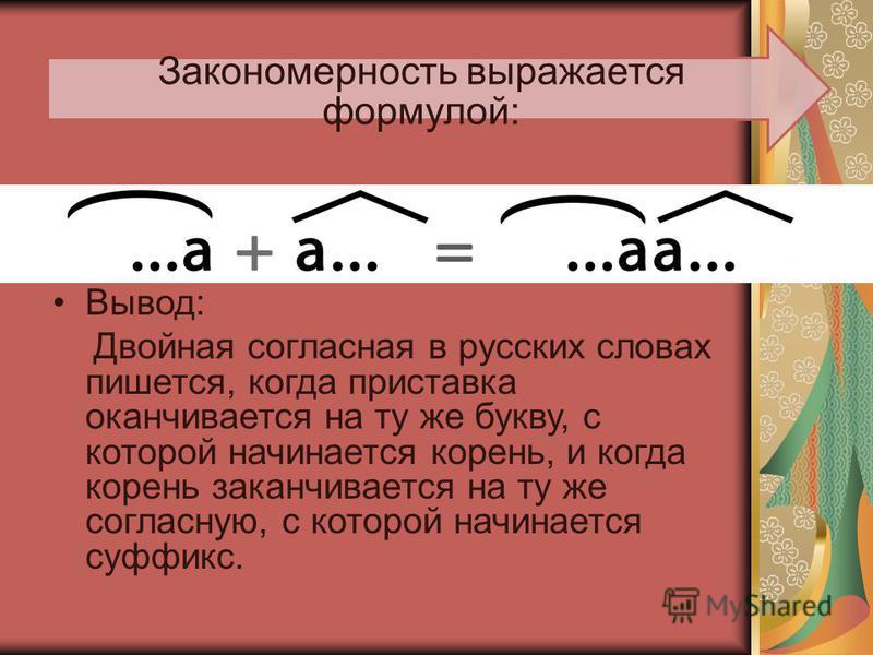 Закономерность выражается формулой: Вывод: Двойная согласная в русских словах пишется, когда приставка оканчивается на ту же букву, с которой начинается корень, и когда корень заканчивается на ту же согласную, с которой начинается суффикс.