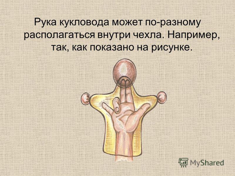 Рука кукловода может по-разному располагаться внутри чехла. Например, так, как показано на рисунке.