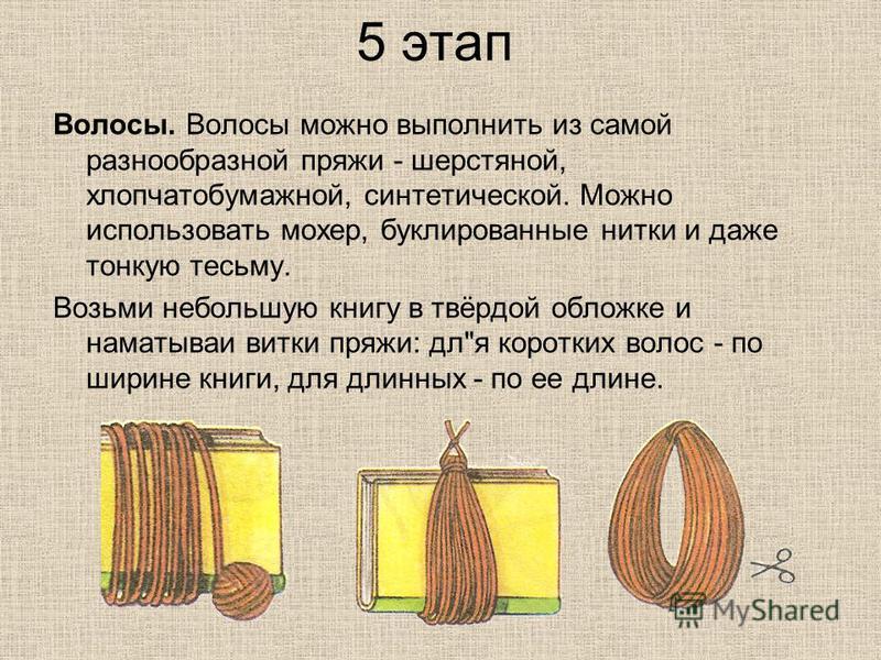 5 этап Волосы. Волосы можно выполнить из самой разнообразной пряжи - шерстяной, хлопчатобумажной, синтетической. Можно использовать мохер, буклированные нитки и даже тонкую тесьму. Возьми небольшую книгу в твёрдой обложке и наматывая витки пряжи: дл