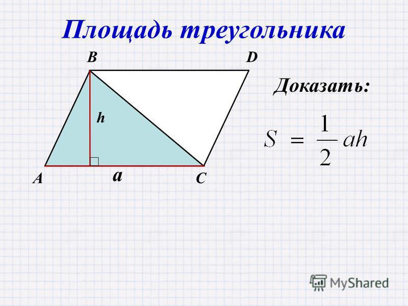 AC BD Площадь треугольника a h Доказать:
