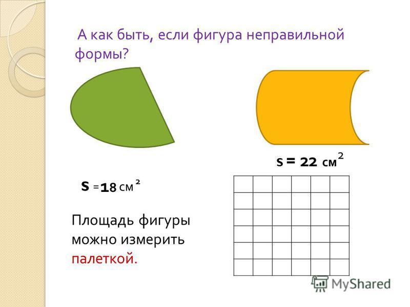 А как быть, если фигура неправильной формы? Площадь фигуры можно измерить палеткой. S = см S = 22 см 1818 2 2