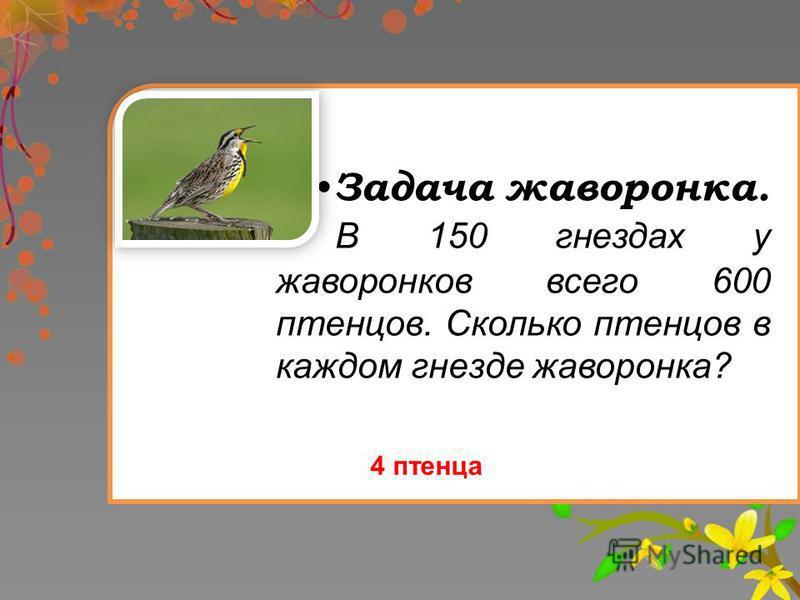 Задача жаворонка. В 150 гнездах у жаворонков всего 600 птенцов. Сколько птенцов в каждом гнезде жаворонка? 4 птенца