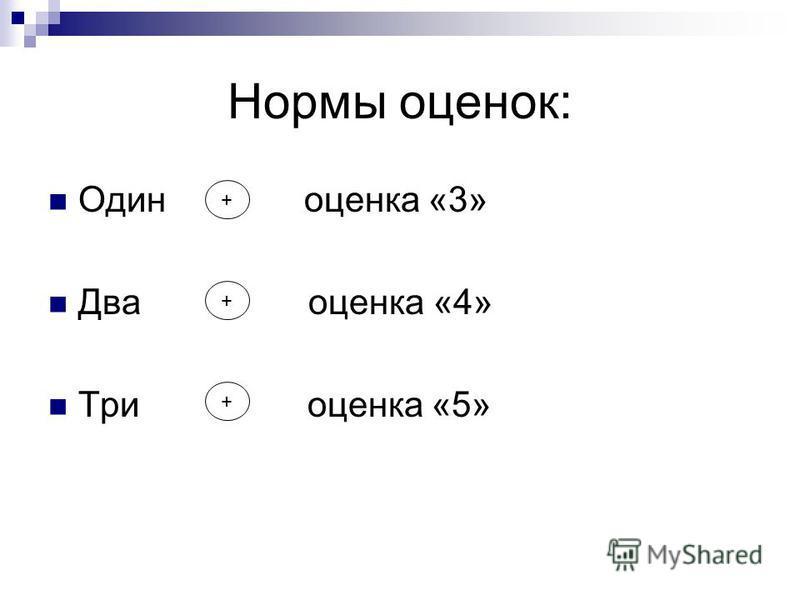 Нормы оценок: Один оценка «3» Два оценка «4» Три оценка «5» + + +
