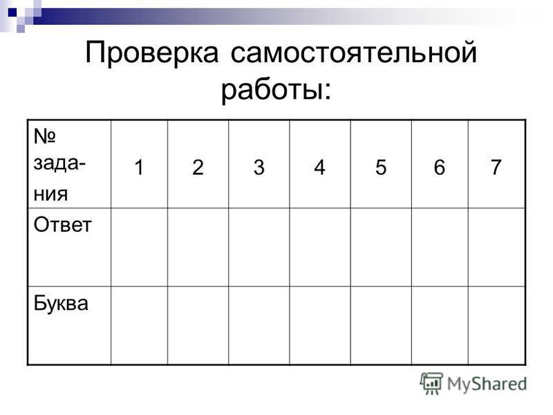 Проверка самостоятельной работы: задания 1234567 Ответ Буква