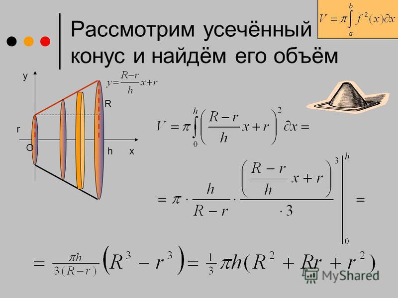 x Рассмотрим усечённый конус и найдём его объём y h O R r