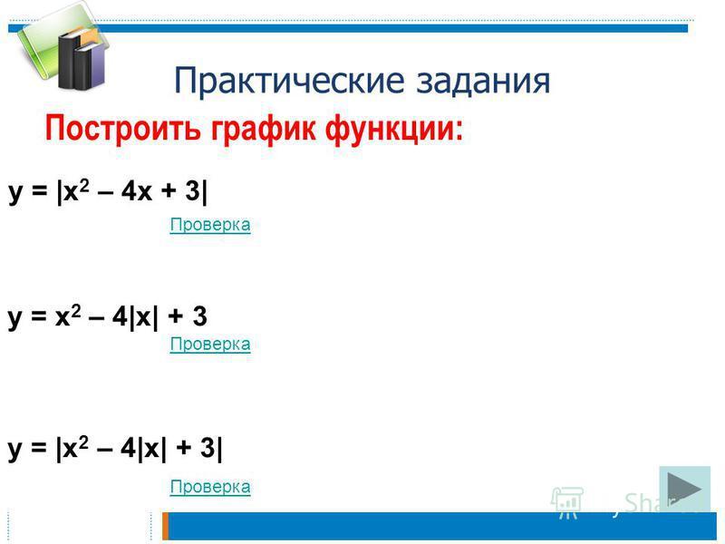 Практические задания Построить график функции: Проверка y = |x 2 – 4x + 3| y = x 2 – 4|x| + 3 y = |x 2 – 4|x| + 3|