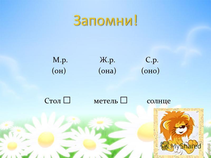 М.р. Ж.р. С.р. (он) (она) (оно) Стол метель солнце