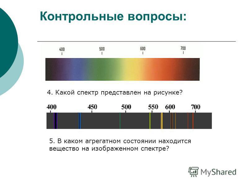 Контрольные вопросы: 4. Какой спектр представлен на рисунке? 5. В каком агрегатном состоянии находится вещество на изображенном спектре?