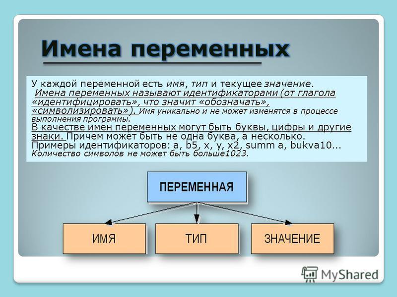 У каждой переменной есть имя, тип и текущее значение. Имена переменных называют идентификаторами (от глагола «идентифицировать», что значит «обозначать», «символизировать»). Имя уникально и не может изменятся в процессе выполнения программы. В качест