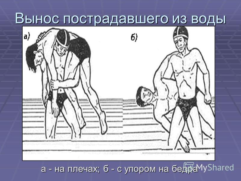Вынос пострадавшего из воды а - на плечах; б - с упором на бедра