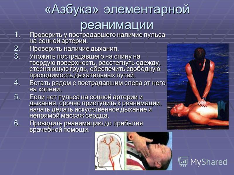 «Азбука» элементарной реанимации 1. Проверить у пострадавшего наличие пульса на сонной артерии. 2. Проверить наличие дыхания. 3. Уложить пострадавшего на спину на твердую поверхность, расстегнуть одежду, стесняющую грудь, обеспечить свободную проходи