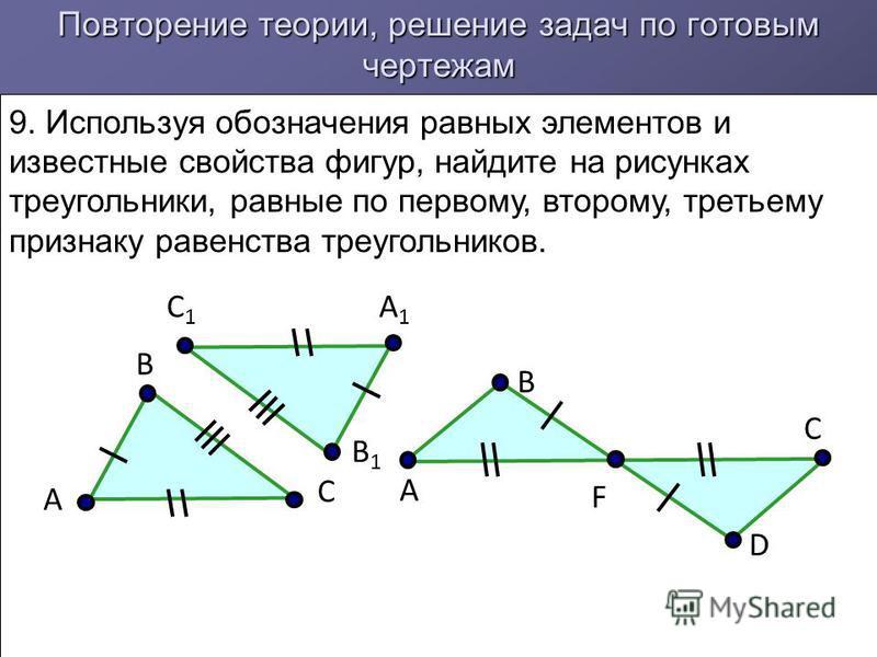Повторение теории, решение задач по готовым чертежам 9. Используя обозначения равных элементов и известные свойства фигур, найдите на рисунках треугольники, равные по первому, второму, третьему признаку равенства треугольников. А B C C1C1 B1B1 A1A1 C