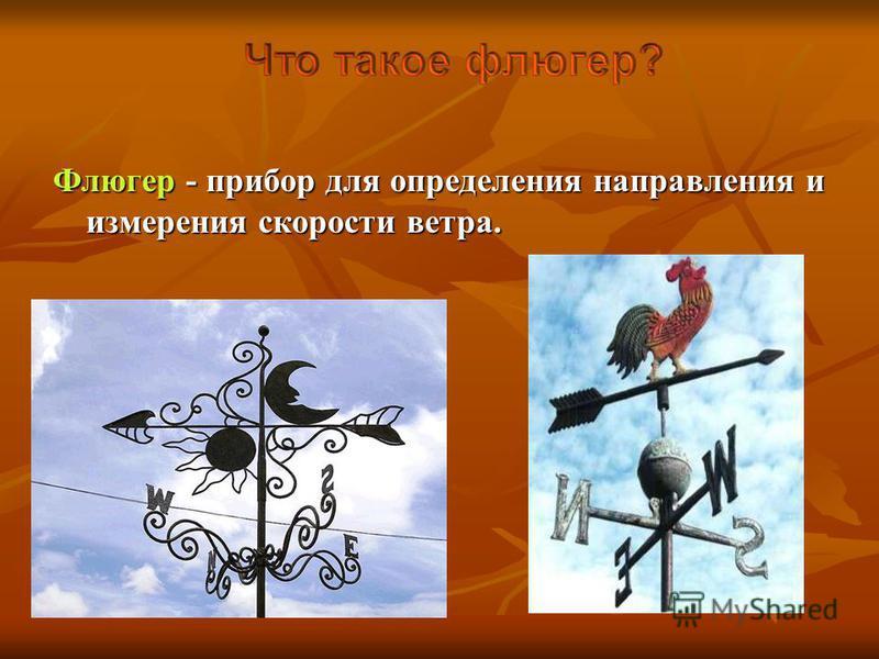 Флюгер - прибор для определения направления и измерения скорости ветра.