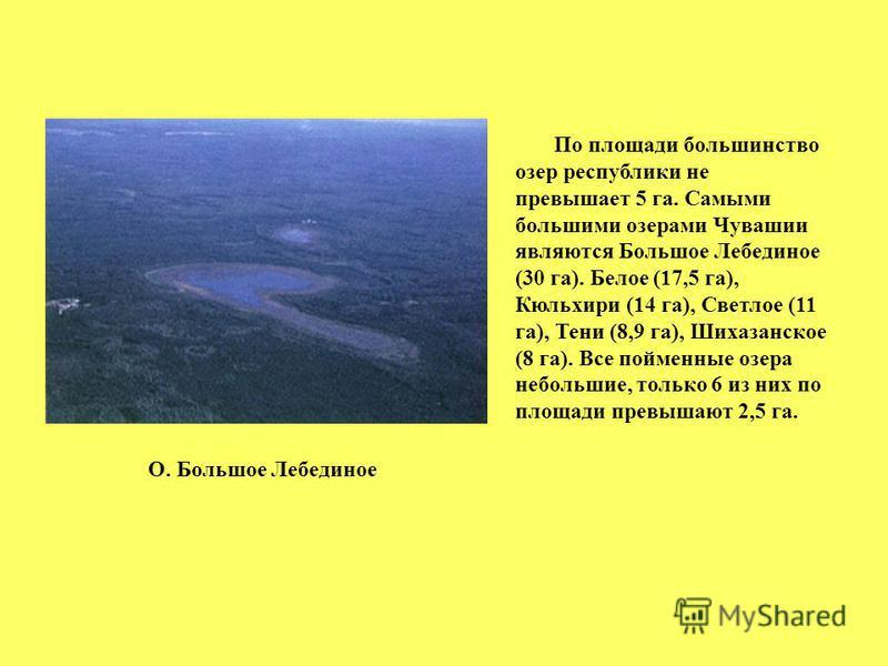 По площади большинство озер республики не превышает 5 га. Самыми большими озерами Чувашии являются Большое Лебединое (30 га). Белое (17,5 га), Кюльхири (14 га), Светлое (11 га), Тени (8,9 га), Шихазанское (8 га). Все пойменные озера небольшие, только