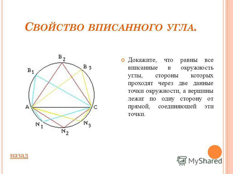 Угол ABC- вписанный в окружность. АС – диаметр. Докажите, что угол ABC- прямой. Задача. назад О А С В